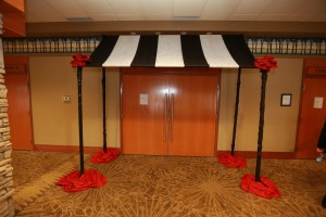 This 'tentrance' was an inexpensive way to bring some drama to the doors of the venue.