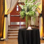 The entrance drapes were tied back with custom made feather drape ties.