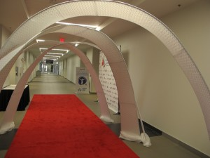 Spandex arches were used to welcome guests to the venue.