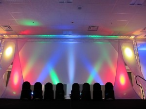 The stage was flanked by layers of spandex to provide a three dimensional feel.